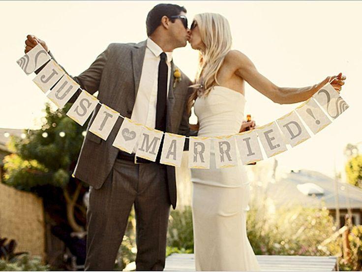 photo op banner / car getaway tag / cake table decor #wedding #bunting