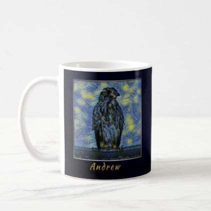 A Hawk Bird on a Roof on a Starry Night Coffee Mug - home gifts ideas decor special unique custom individual customized individualized