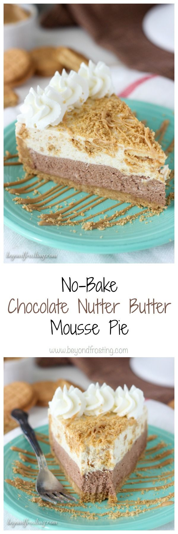 No- Bake Chocolate Peanut Butter Mousse Pie: a Nutter Butter cookie crust with a thick layer of chocolate mousse, a layer of peanut butter cookie mousse and topped with whipped cream and more peanut butter. Each layer is light and airy just like you would expect for a mousse.