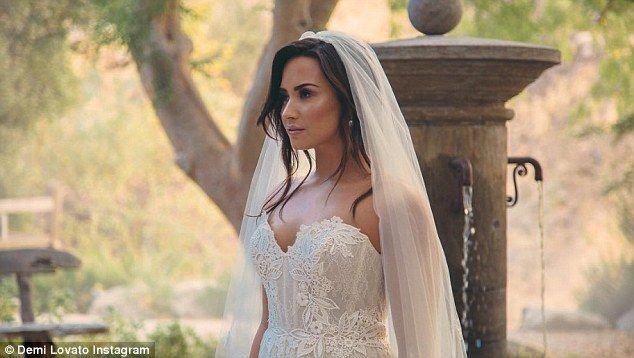 Demi Lovato Posts Photo Of Herself As Blushing Bride Demi Demi Lovato Wedding Dresses