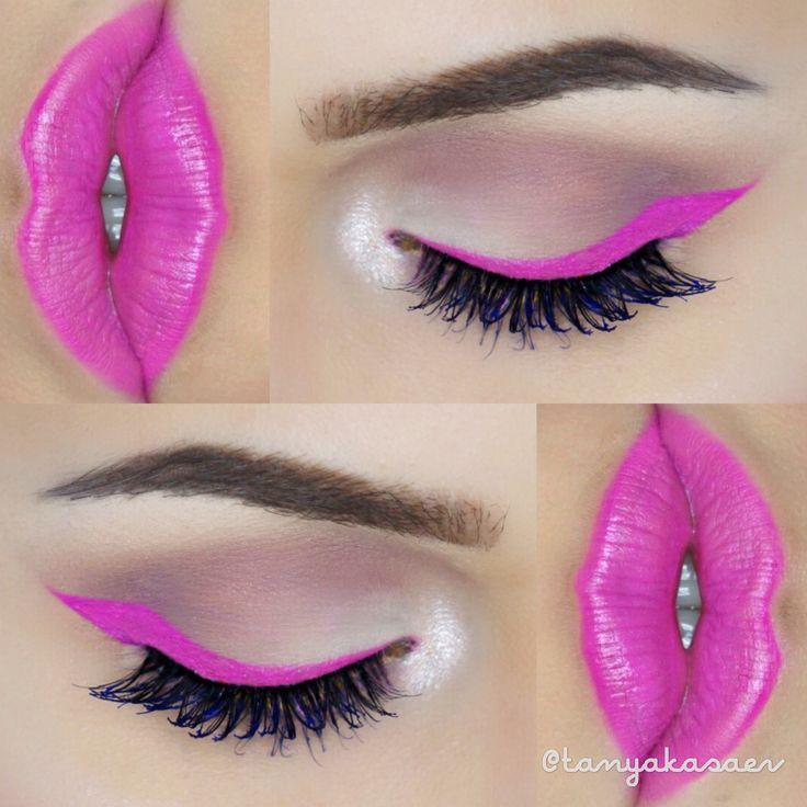 Hot pink eyeliner lips makeup beautiful idea look inspo fun bright colorful