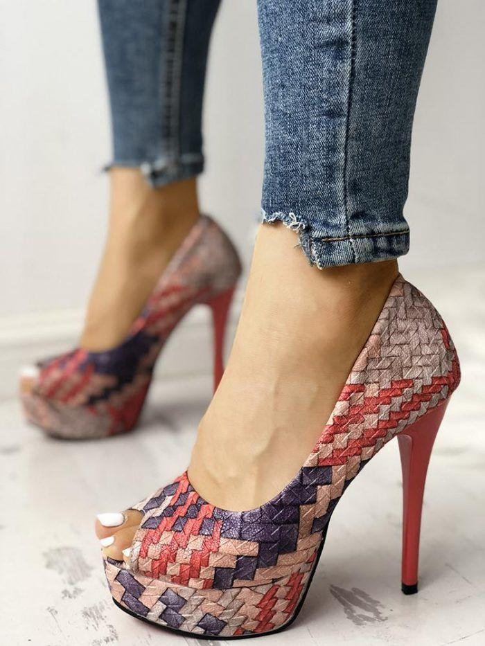 Plain Round Toe Casual Date Platform Heels   Heels, Sneakers