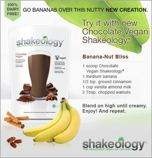 Banana Nut Bliss with Chocolate Vegan Shakeology. YUM!!!! Click the photo to go to my page for more information.