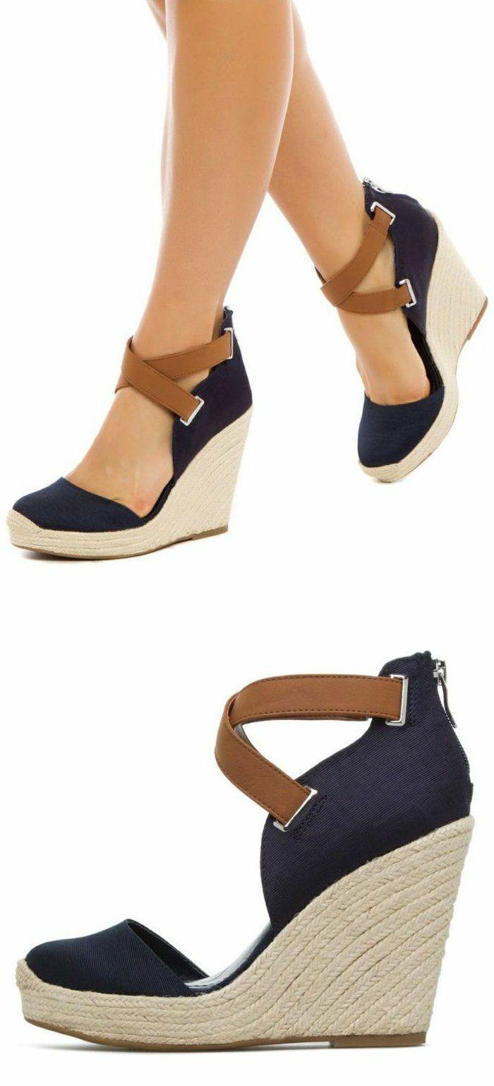 chaussures compensées, jolies sandales d'été                                                                                                                                                      Plus