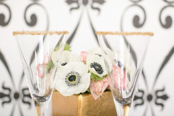 Black & White Geometrical Wedding Shoot, cocktail glasses, gold sugar, anemones