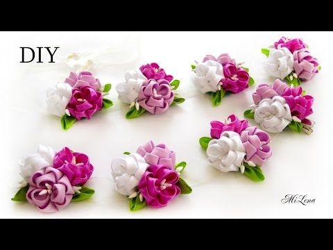Цветы Канзаши Крученые лепестки ✄ Kulikova Anastasia - YouTube