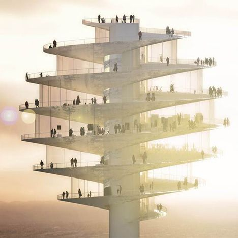 Rising above the downtown city rooftops, the spiralling structure is conceived as a tourist attraction that will contain a continuous series of exhibition spaces, shops and restaurants.