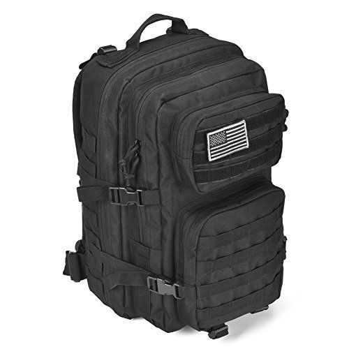 """Military Tactical Backpack Large Army 3 Day Assault Pack Molle Bug Out Bag Backpack Rucksacks for Outdoor Hiking Camping Trekking Hunting  Military Tactical backpack size approx.:13""""*20""""*11"""" / 33*50.5*28CM (W*H*D),Capacity: 40L; Military backpack is made of 600x600 Density fabric, durable and waterproofThe molle tactical backpack has molle system, Molle webbing throughout for attaching additional tactical pouches or gear as 3 day assault pack bug out bag backpack combat molle backpa.."""