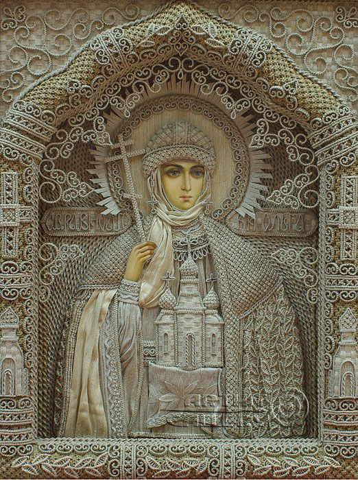 Macrame art. Religious icons. Applied art. St. Princess Olga of Constantinople. Denshchikov Vladimir