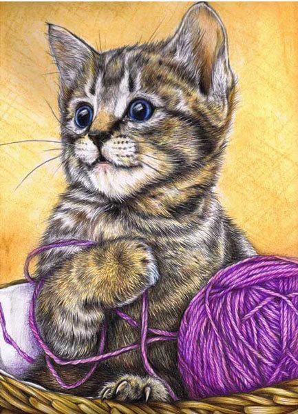 Котенок с клубком - Схемы вышивки - FRIDA - Авторы ...