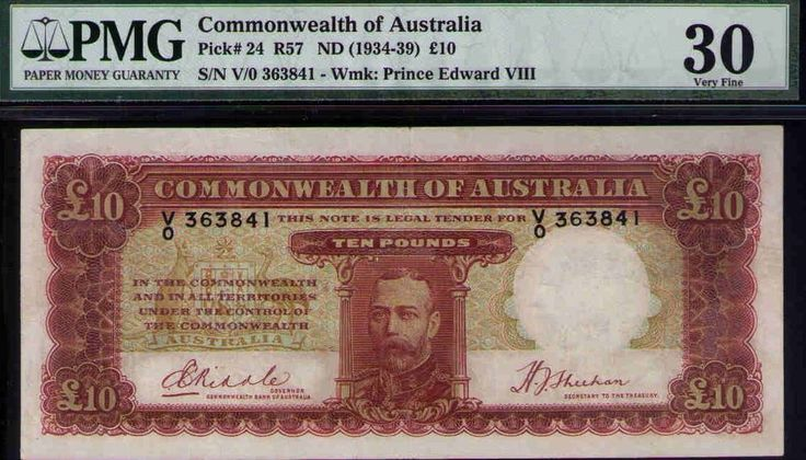 Commonwealth of Australia ND1934 £10 KGV PMG Certified VF30 R57 Pick# 24