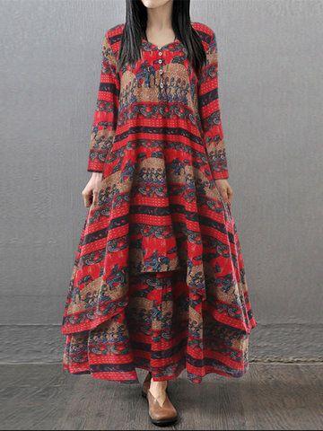 Gracila Vintage Printed Women V-neck Long Sleeve Maxi Dresses Shopping Online - NewChic Mobile