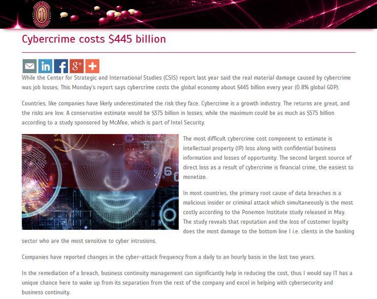 Cybercrime costs $445 billion