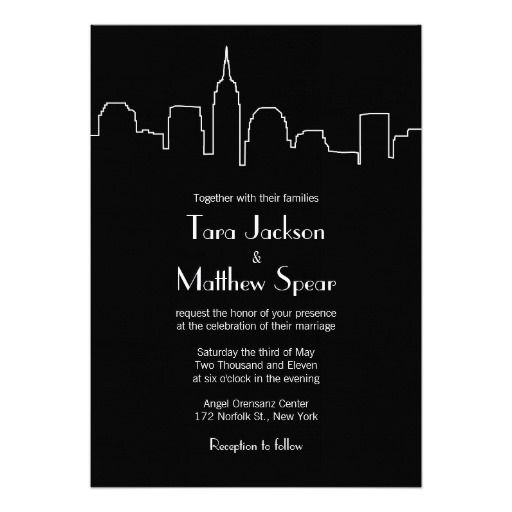 nyc skyline wedding invitation