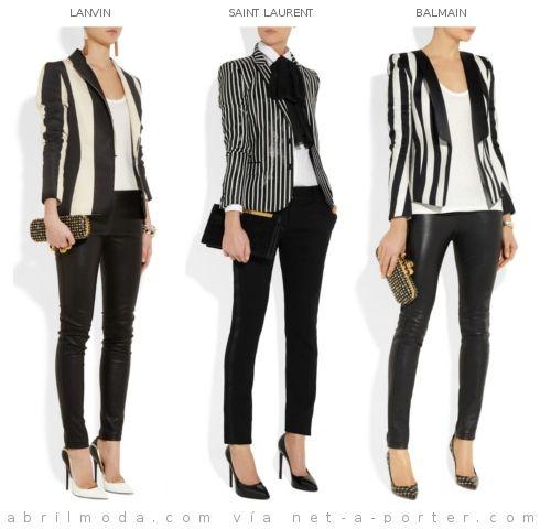 Blazer a rayas en blanco y negro para un look bicolor... Me encantan!