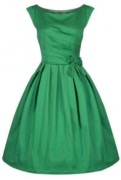 POSHme - LindyBop Lucille šaty, zelené s mašlí