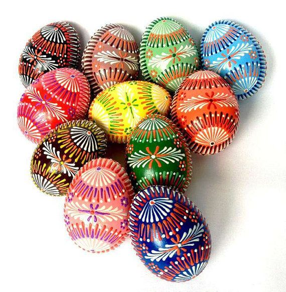 Set of 11 Hand Decorated Colours Painted Chicken Easter Egg, Traditional Slavic Wax Pinhead Chicken Egg, Kraslice, Pysanka