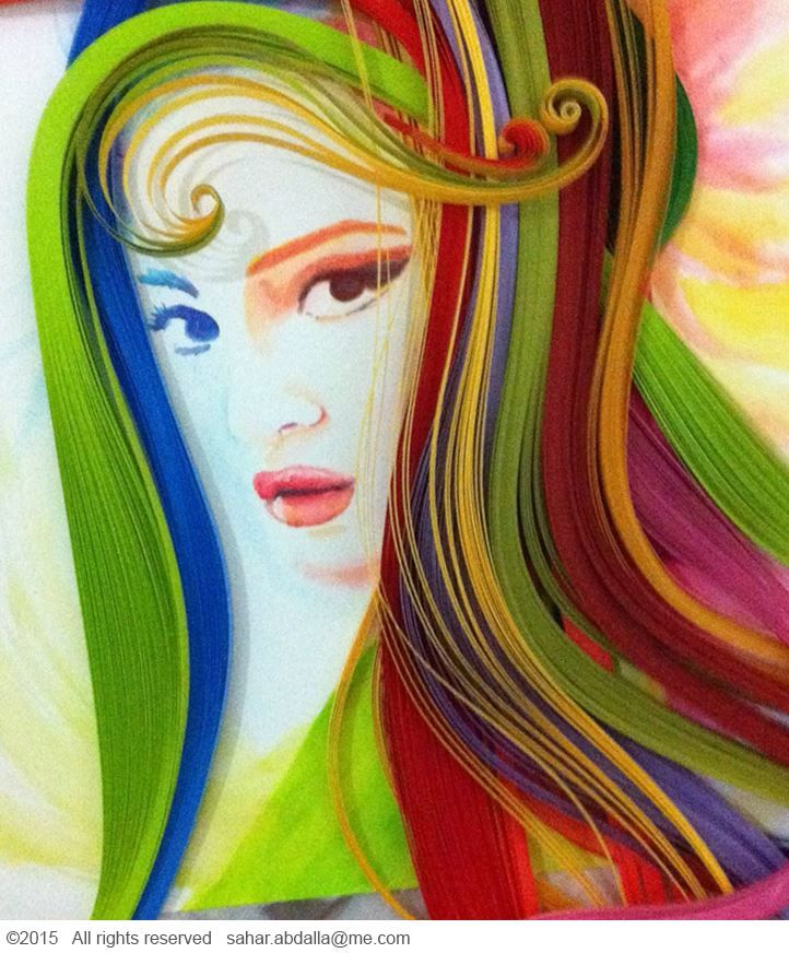 Multicoloured quilling paper wig / peruca on a portrait drawn by Tombow brush pens   - Instagram @Xtra_Gravity