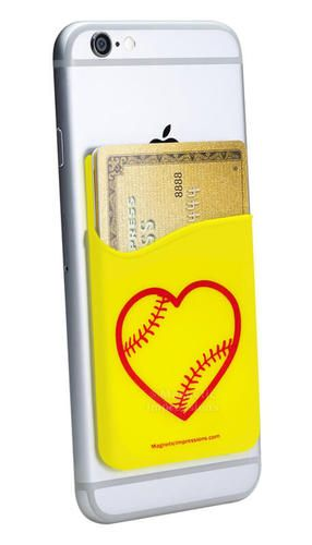Softball Heart Cell Phone Wallet keeps your credit cards and id safe while you're out. Just peel and stick! A silicone wallet is the best tech gift for softball girls. Find more Gifts for Softball Players and Teams.