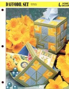 Daffodil Set Basket & Tissue Cover Annie's Plastic Canvas Pattern