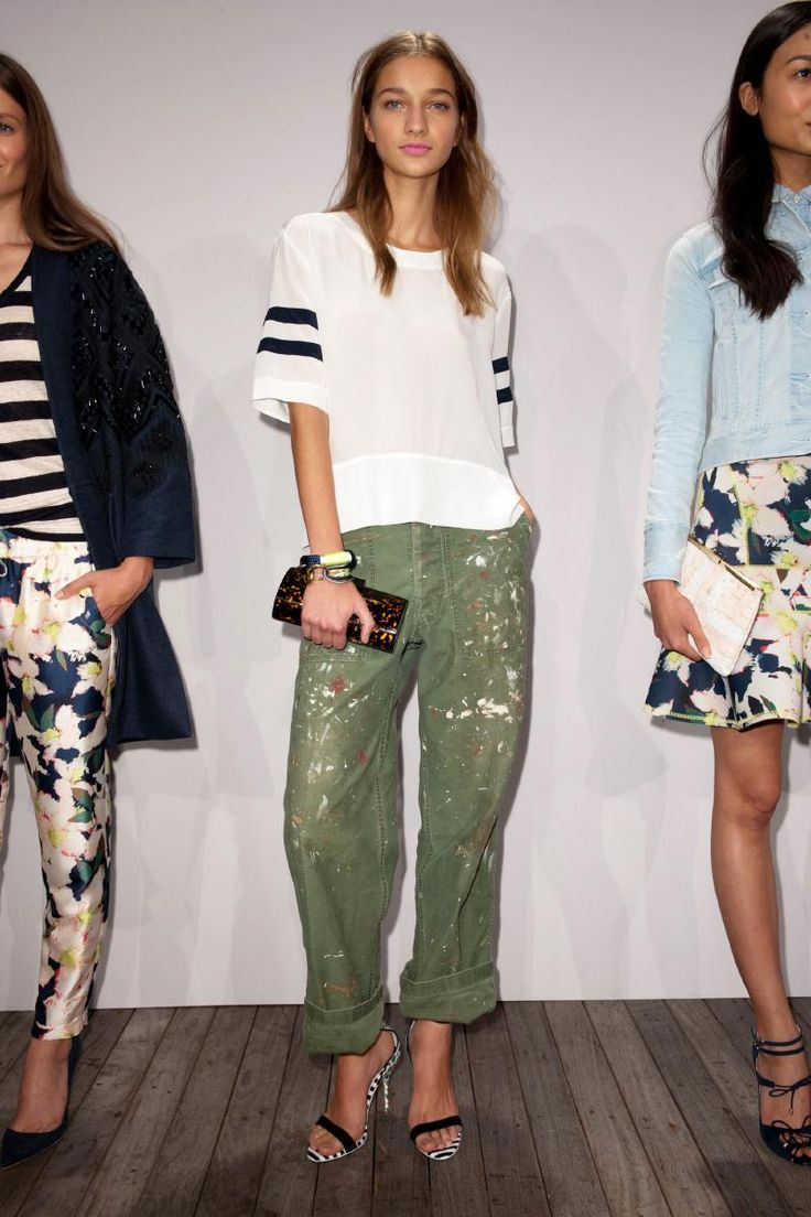 J. Crew Spring/Summer '14. I'm obsessed with the slouchiness of this look. The paint splatters and athletic inspired stripes mixed with the lady like accessories is so very now.