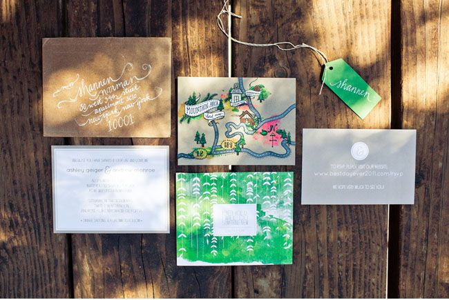 """With our invites, design handmade maps that match the """"Save the Dates"""" and formal invitation look."""