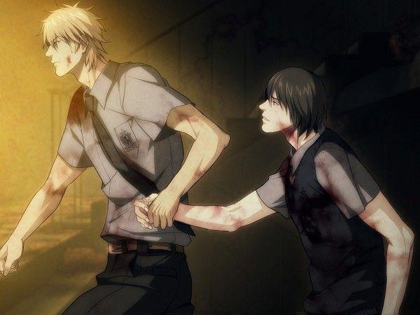 Tetsuo y Youji con sangre.