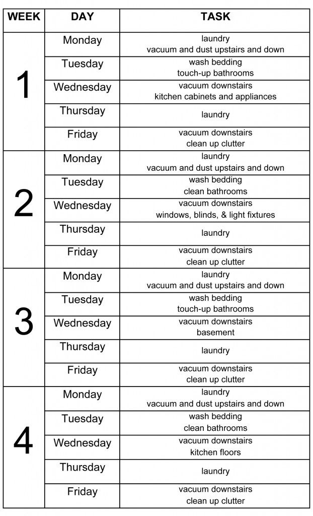 family cleaning schedule template