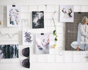 Gray Silver Wire Wall Grid Wire Mesh Memo Board by BiletinShop