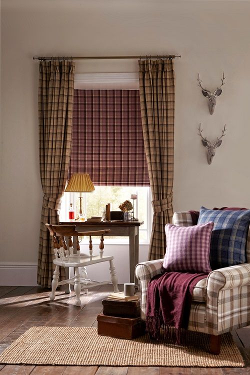 Tartan Living Room Design Elgin Curtains In Praline With Roman Blinds Heather