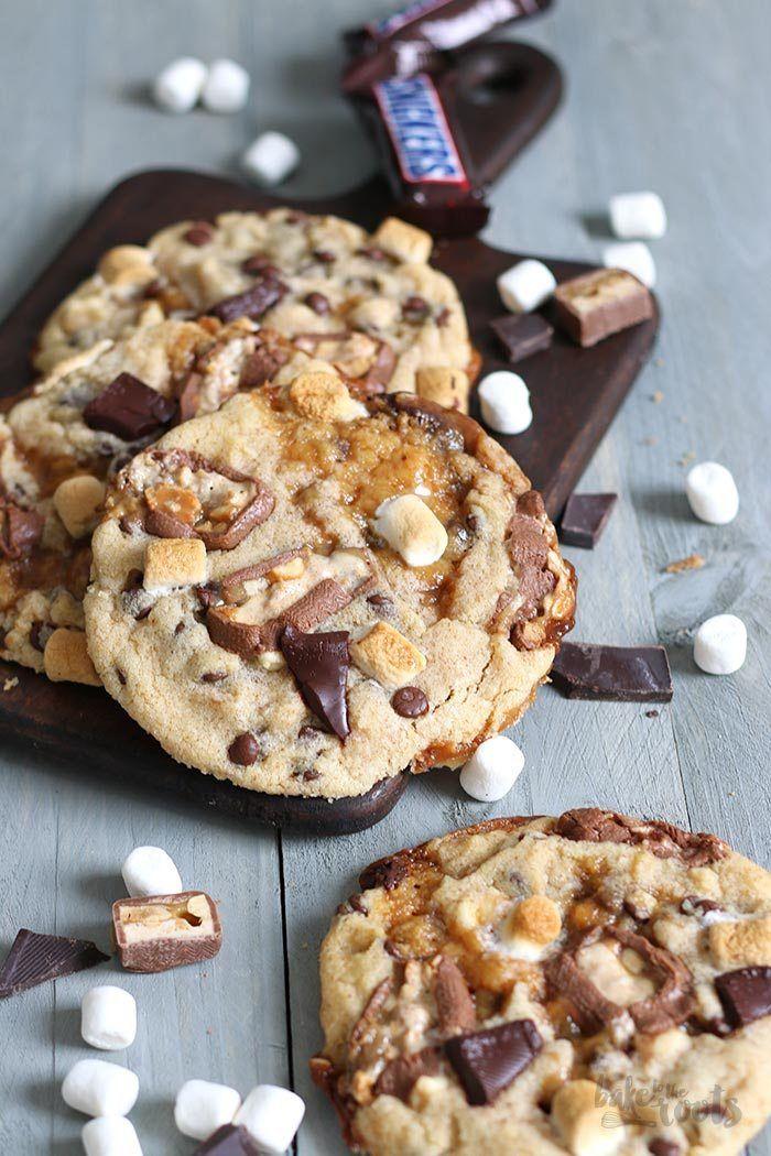 Monster Cookies mit Karamell und Snickers