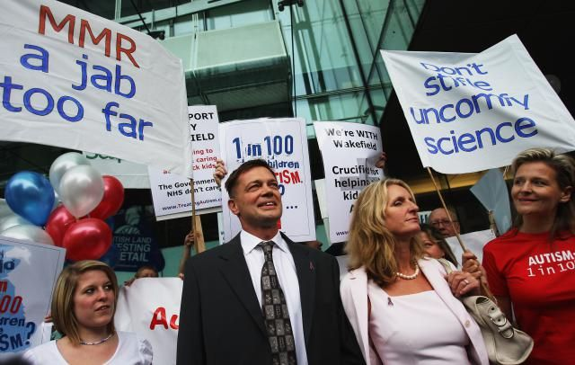 Read Stories about Unvaccinated Children with Autism: Andrew Wakefield and his supporters at the General Medical Council investigation where he later lost his medical license.