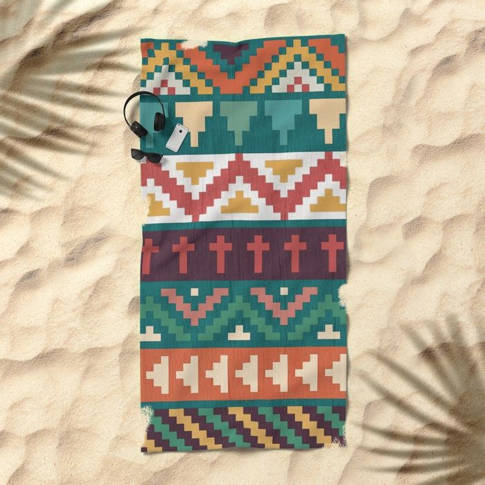 Southwestern Pattern Beach Towel by Noonday Design | Society6