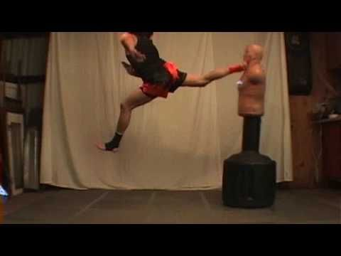 Jumping back kick tutorial. Kwonkicker has good techniques in general, and he explains things well. His movements also seem more practical and focused than many other people who make such videos; he actually fights professionally