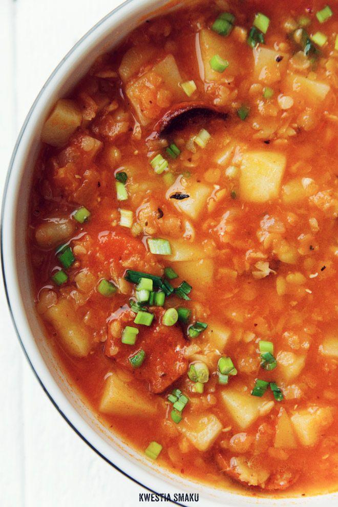 Yellow split pea, tomato, lentil and chorizo soup