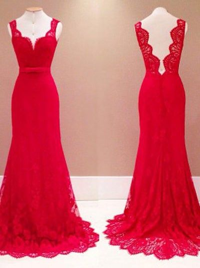 Prom dress,Prom dress 2016,Red prom dress,Red lace prom dress,Long prom dress,Backless prom dress,