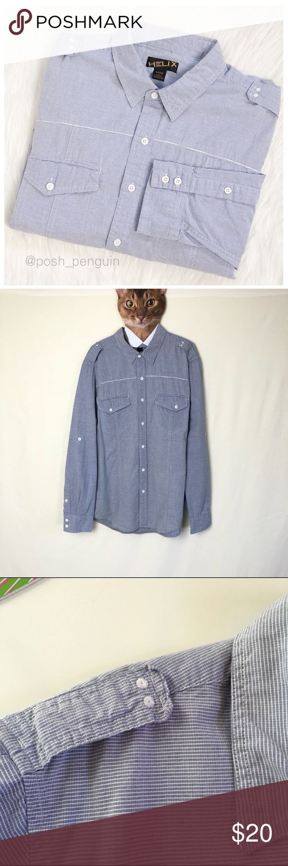 """Blue Seersucker Casual Button Down Shirt Large Blue Seersucker Casual Button Down Shirt. Blue with white accent piping, buttons and shoulder tabs. Works great with dark denim. Excellent used condition. Freshly laundered. Chest 22"""" (flat) Length 29"""". Helix Shirts Casual Button Down Shirts"""