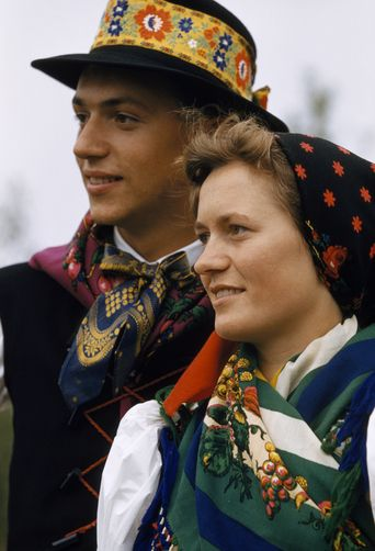 A couple of Croatian descent wears traditional costumes at Easter. Location: Stinatz, Austria, Burgenland