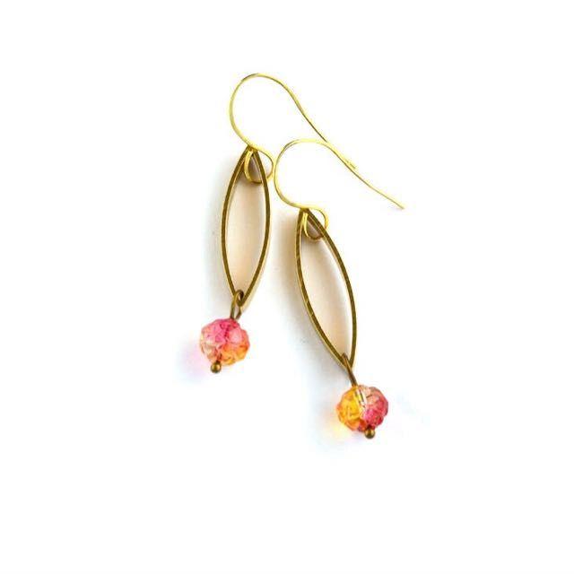 Geometric Brass Earrings, Rose bead, Crystal, teardrop link on Carousell