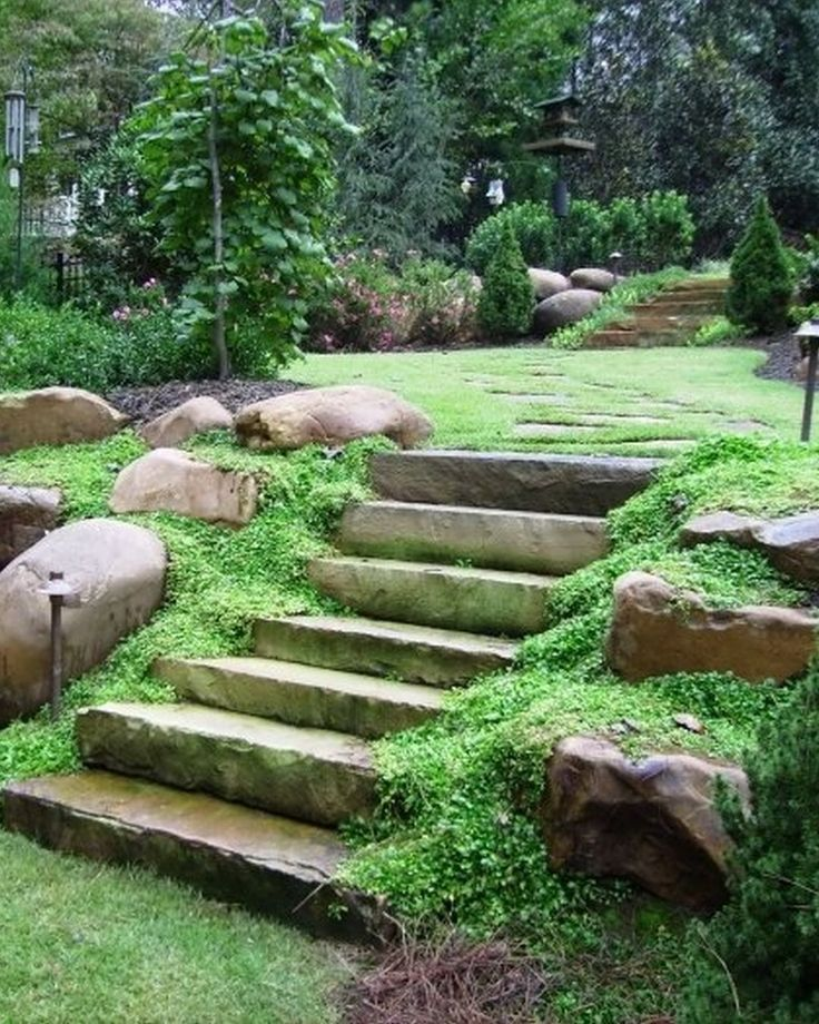 Garden, Natural Impression About Large Landscaping Rocks With Laddersteps And Steeping And Big Size Stone And Look Wet And Beauty Pink Color And Amusing Garden Lamps: Large Landscaping Rocks Design ideas