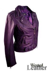 Brando Ladies Biker Jacket in Purple Leather