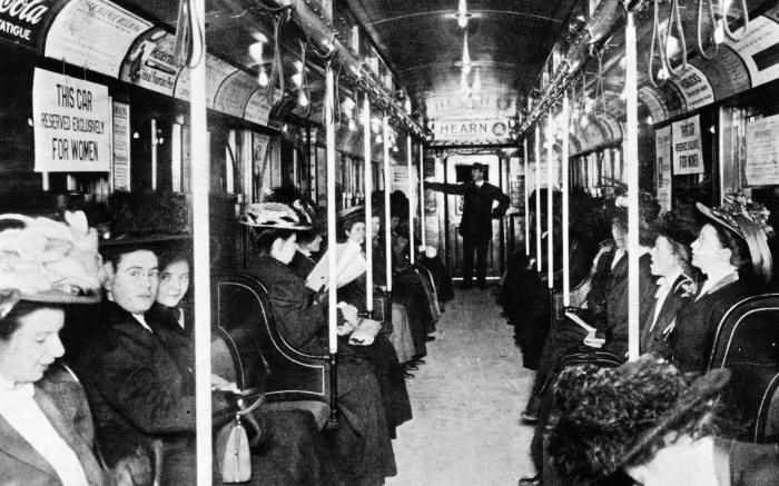 A women-only car on the NY subway in 1919.