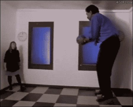 "The ""Ames Room"" illusion messes with our depth perception and is created by slanting the back wall of the room towards the camera and the ceiling downwards."