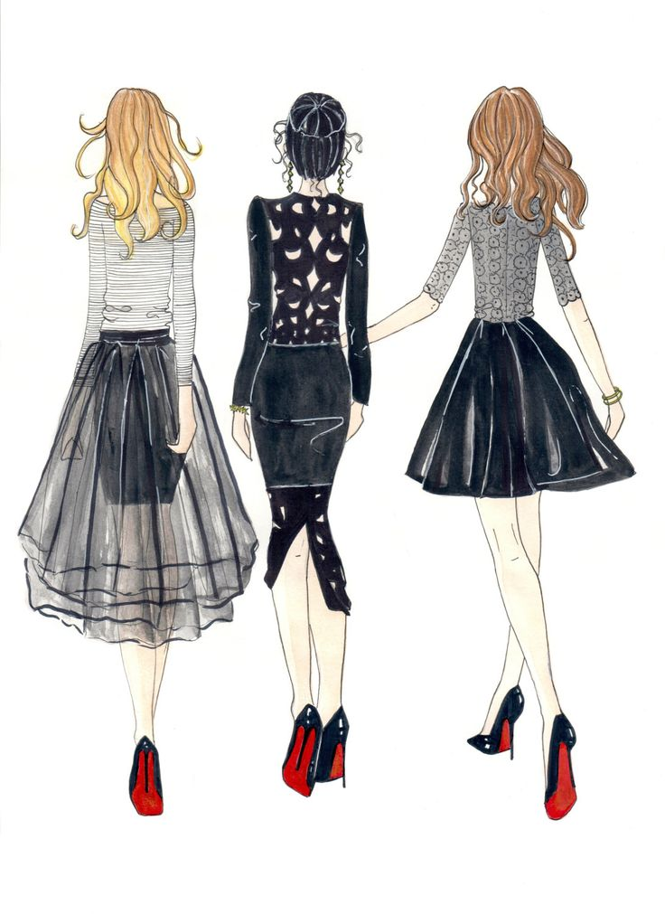 """Little Black Dress Besties - Prints - 8""""x10"""" - Various Sizes - Wall Art - Best Friends -Red Sole - Christian Louboutin - Gift For Her by KristinaHerediaArt on Etsy"""