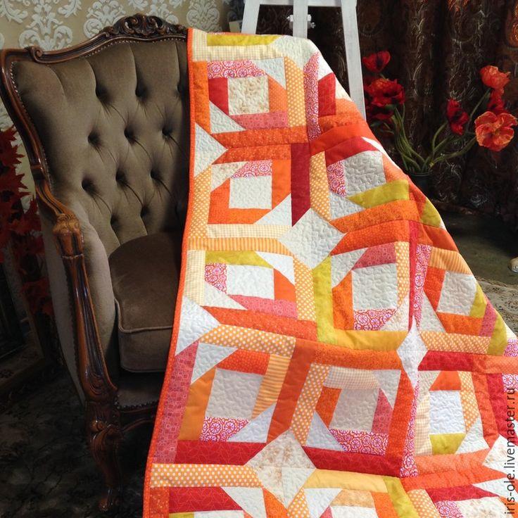 ОРАНЖЕВОЕ ЛЕТО лоскутное покрывало пэчворк - оранжевый, лоскутное одеяло, лоскутное покрывало