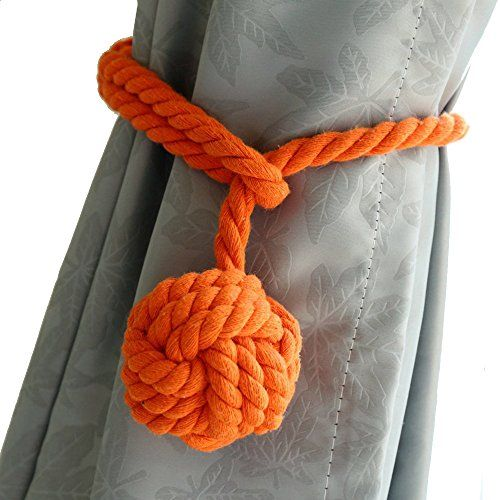 """BestWare 2 Pcs Curtain Rope Tiebacks Cotton Tie Backs Knitting Curtain Rope Cord With Single Ball Orange:   BestWare Curtain tieback ball woven cotton thread hanging curtains accessories hold back<br> <br> Color: 9 colors for choosing<br> Size: rope length 56cm/22"""", ball diameter 7cm/2.7""""<br> Weight: 220g<br> <br> Package include:<br> 2 pcs x Rope Ball Curtain Tiebacks<br>"""
