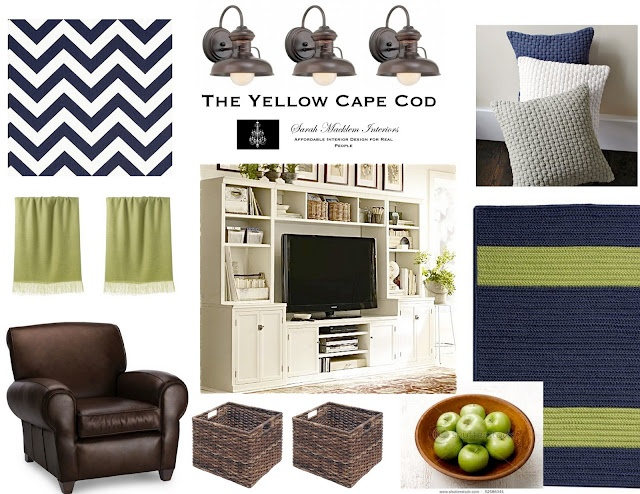Navy,  pops of lime green and fun geometric patterns kept an overall traditional design young and fresh.