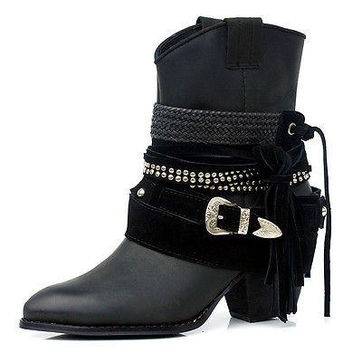 Rock Chic Western Multi Layered Stud Wrap Buckle Strap Suede Tassel Ankle Bootie | eBay