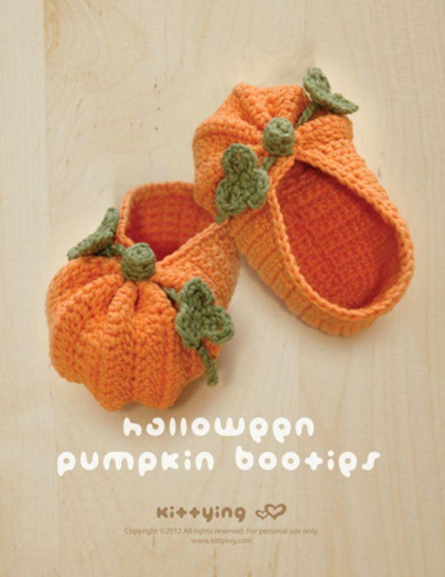 Häkelanleitung für Babyschuhe als Kürbis im süßen Halloween Look / crocheting instruction for baby shoes as pumpkin in cute halloween look made by kittybebe via DaWanda.com
