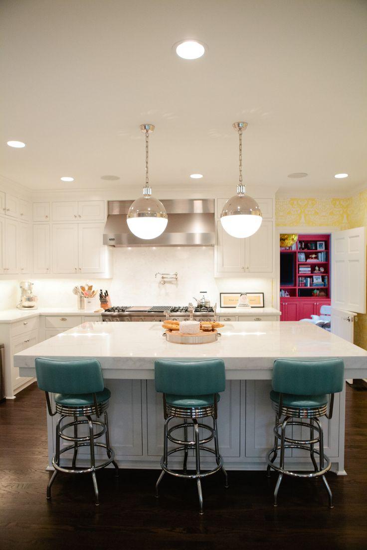 Major island envy: Idea, Kitchens Design, Amber Interiors, Lights Fixtures, Design Sponge, Islands, Design Kitchens, Bar Stools, White Kitchens